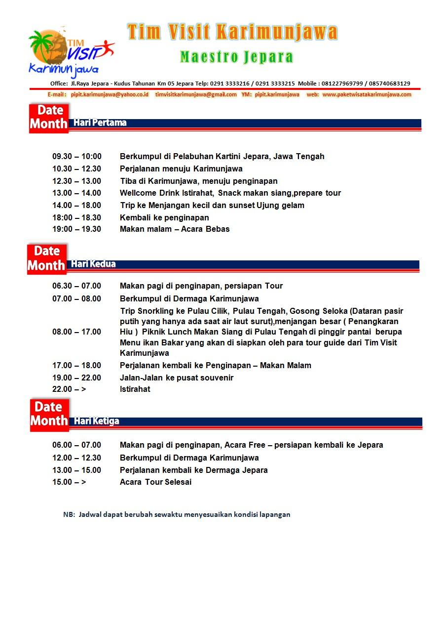 Brosur Paket Wisata Karimunjawa Tour And Travel