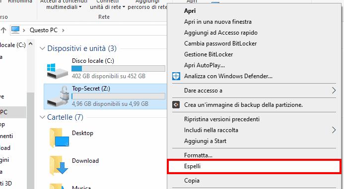 Questo PC opzione Espelli volume crittografato con BitLocker