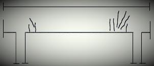 الشروخ في الكمرات بسبب زيادة إجهاد القص
