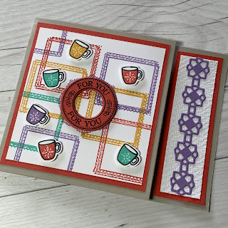 Coffee mugs on card from gift card holder
