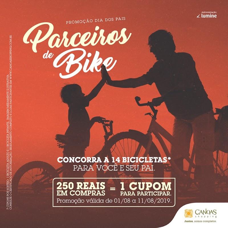 Promoção de Dia dos Pais do Canoas Shopping sorteia 14 bicicletas para pais e filhos pedalarem juntos.
