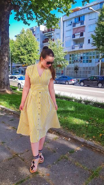 sun inspired outfit post livinglikev fashion blogger living like v style blogger bosnian blogger dropship clothing dropship clothes yellow dress summer dress