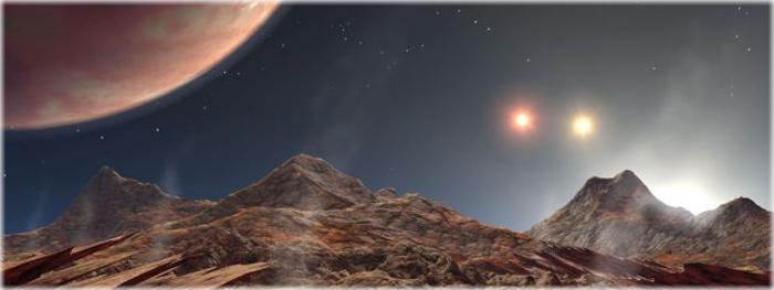 planeta encontrado com 3 sois no céu