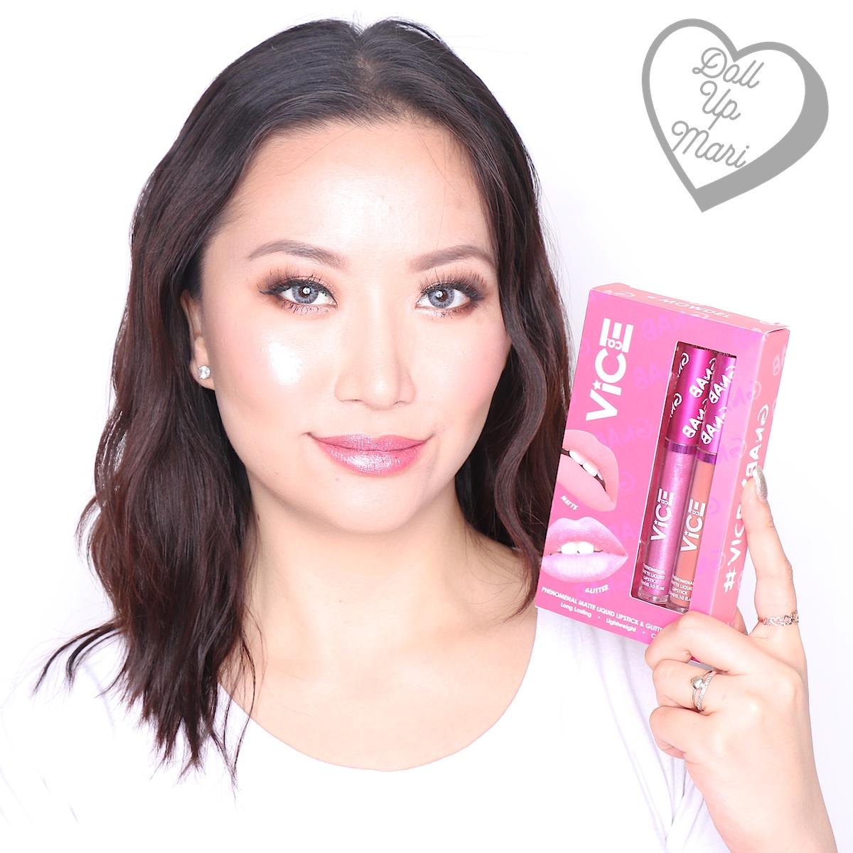 Mari wearing both matte liquid lipstick and glitter topper of the Mowdel set of Vice X Bang lip set collection