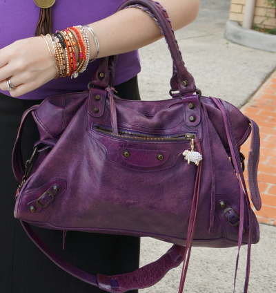 Away From Blue Balenciaga sapphire purple city bag 2008