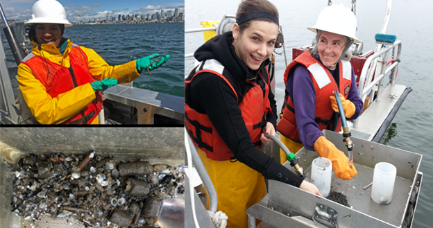 Picture of Ecology employees holding samples and working on boat. They are smiling enthusiastically.