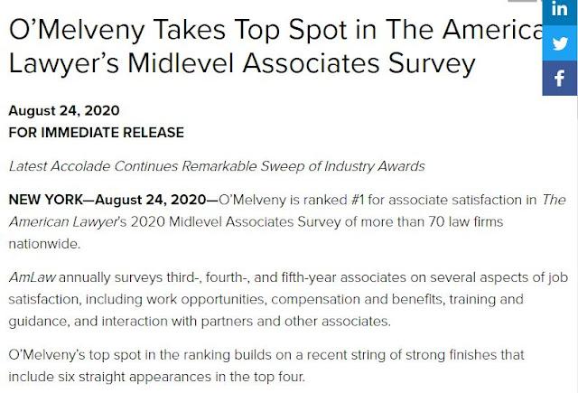o'melveny omm ALM midlevel associate satisfaction survey