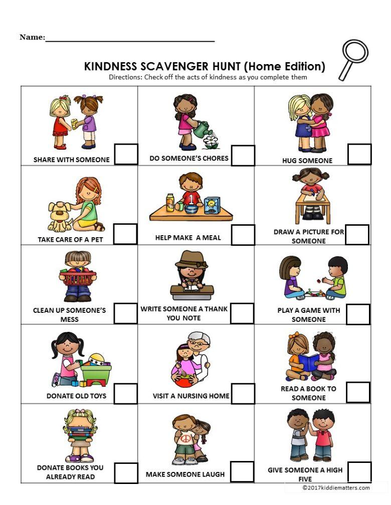 kindness scavenger hunt for kids