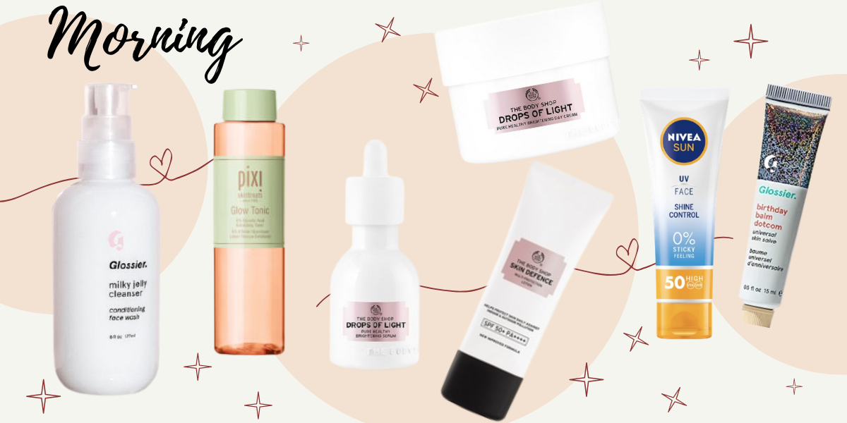 Collage of skincare products including glossier milky jelly cleanser, pixi glow tonic, body shop drops of light serum and moisturiser, body shop skin defence, nivea face spf and glossier balm dotcom
