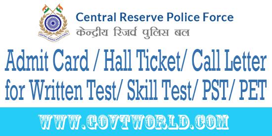 CRPF Admit Card 2016