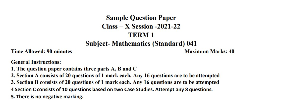 Paper Overview Sample Paper of Class 10 Maths (Term 1) Full Solution