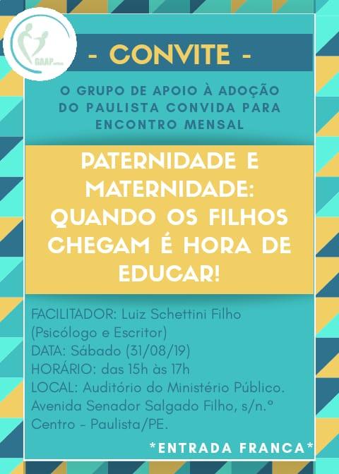 Schettini faz palestra em Paulista sobre adoção de crianças e adolescentes