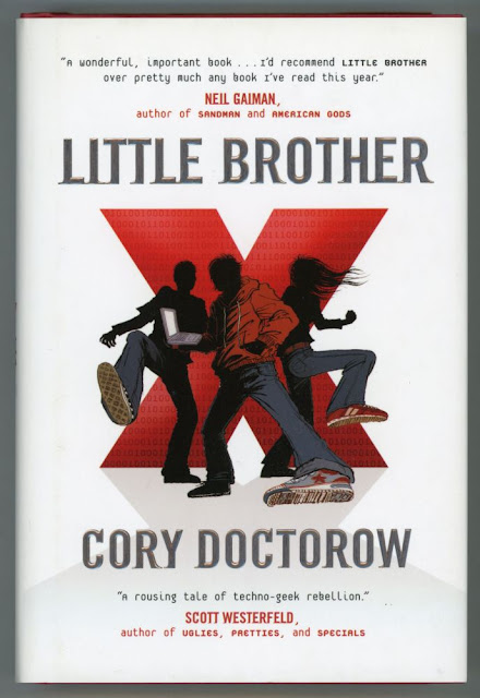 cover art of Cory Doctorow's Little Brother with three teens