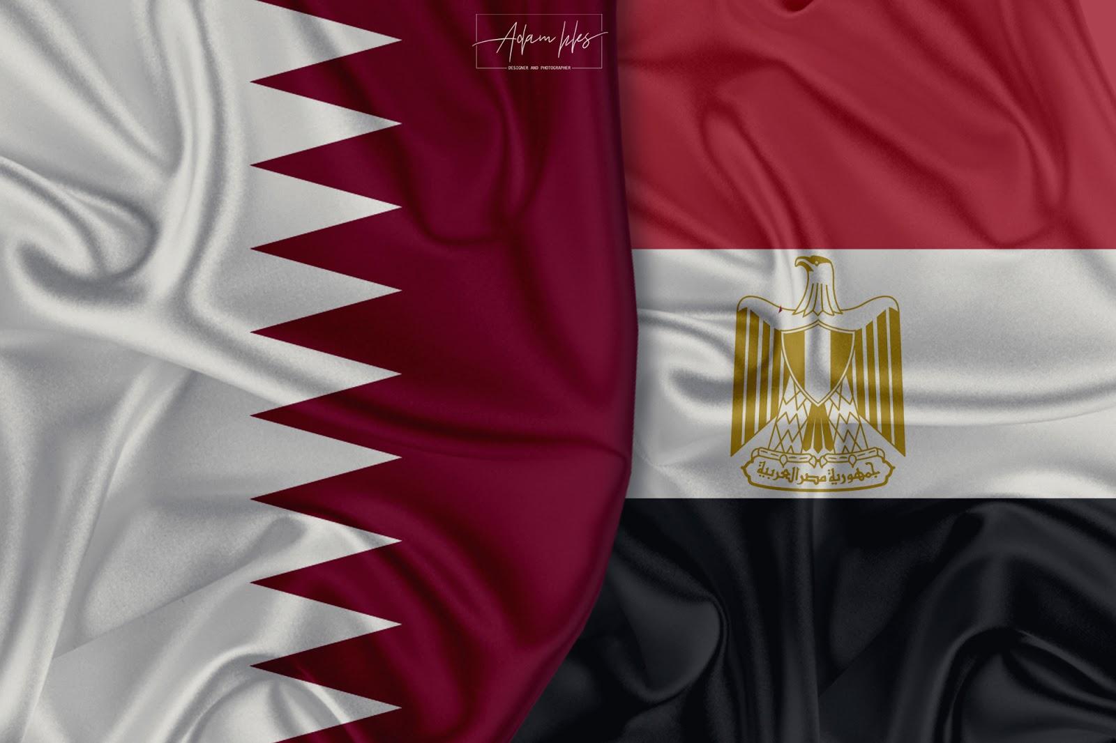 علم قطر وعلم مصر معا