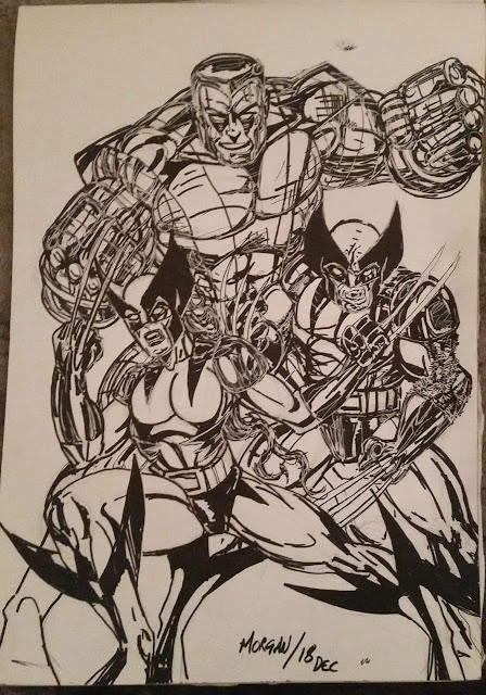 A black and white drawing of Colossus, Wolverine and X-23 by artist Eddie Morgan