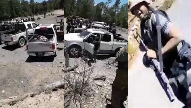 """Sicarios armados hasta los dientes de """"Gente Nueva"""", el brazo armado de """"El Chapo"""" se pavonean por Chihuahua"""