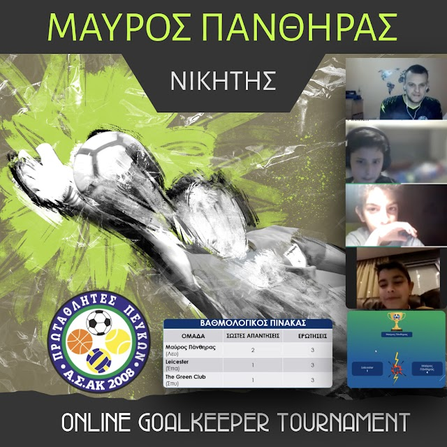 Με νικητή τον ΜΑΥΡΟ ΠΑΝΘΗΡΑ ολοκληρώθηκε το mini Online Goalkeeper Tournament