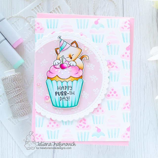 Birthday Cat and Cupcake Card by Tatiana Trafimovich | Newton's Cupcake Stamp Set, Cupcakes Stencil Set and Circle Frames Die Set by Newton's Nook Designs #newtonsnook #handmade