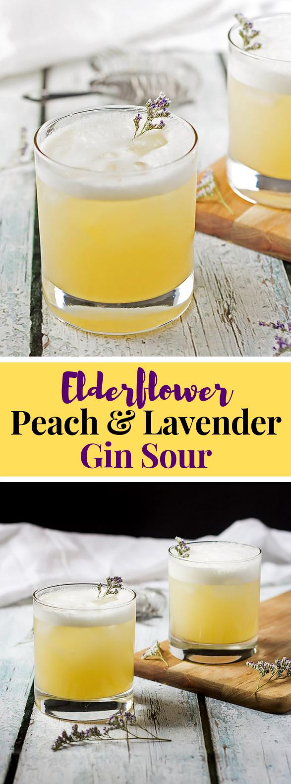 Elderflower, Peach and Lavender Gin Sour #drinks #cocktail