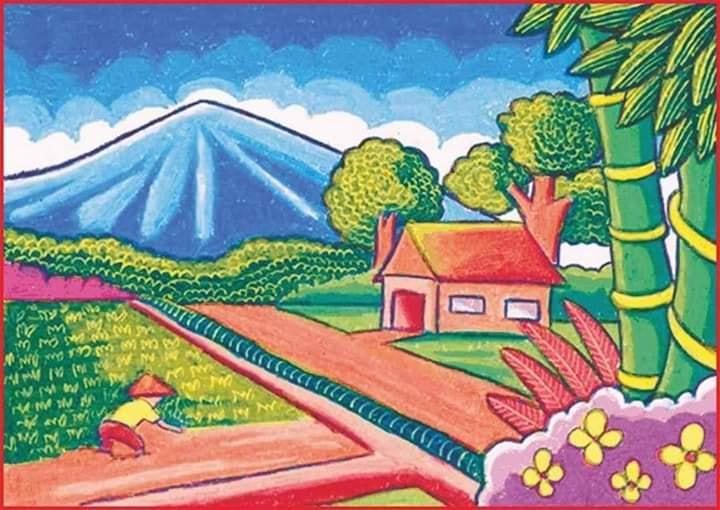 Contoh Gambar Pemandangan dengan View Gunung, Rumah dan Sawah