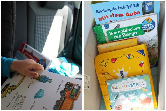 Gegen Langeweile im Auto Stau-Frust Tipps fuer lange Autofahrten mit Kind Autobuecherkiste Jules kleines Freudenhaus
