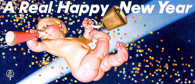 "a Joseph Christian Leyendecker illustration, ""A Real Happy New Year"""