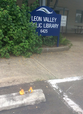 2 duckies on curb in front of LVPL sign