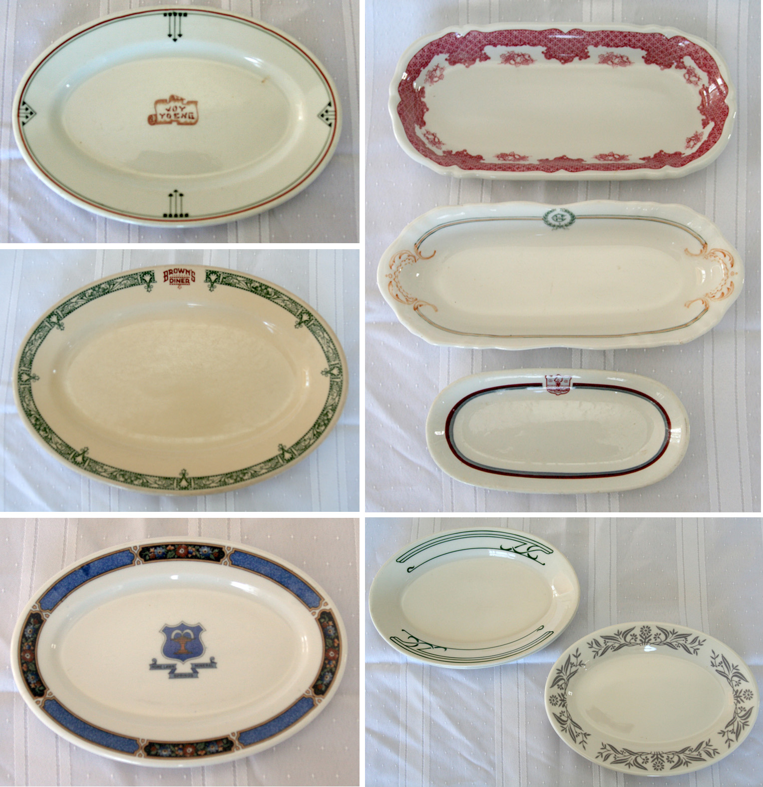 Hotel Collection Plates: I Love Collecting: OVAL RESTAURANT PLATES