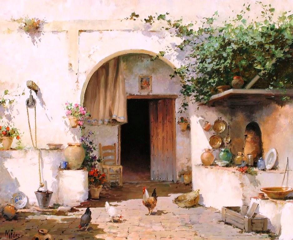 Cuadros modernos pinturas y dibujos lbum de paisajes pintados al leo pueblos - Casas rurales compra ...