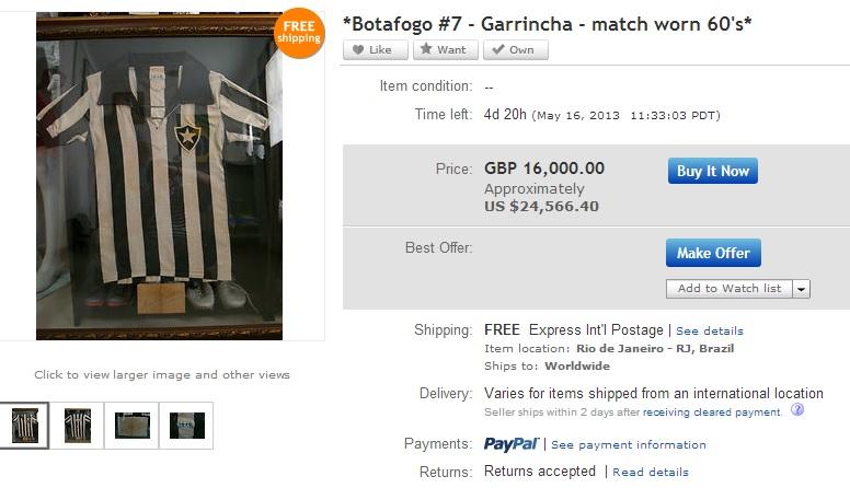 57760c4585 Camisa do Botafogo usada por Garrincha vai a leilão fora do Brasil por  oferta mínima de 25 mil dólares