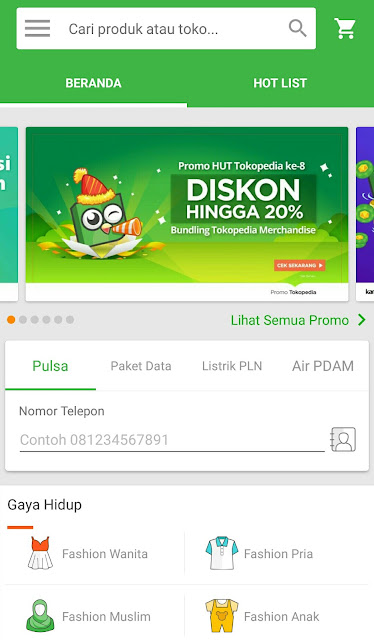 interface tokopedia di aplikasi