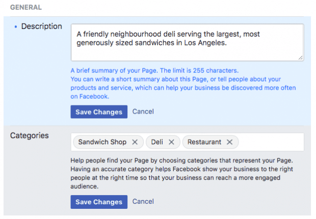وصف صفحة الفيس بوك