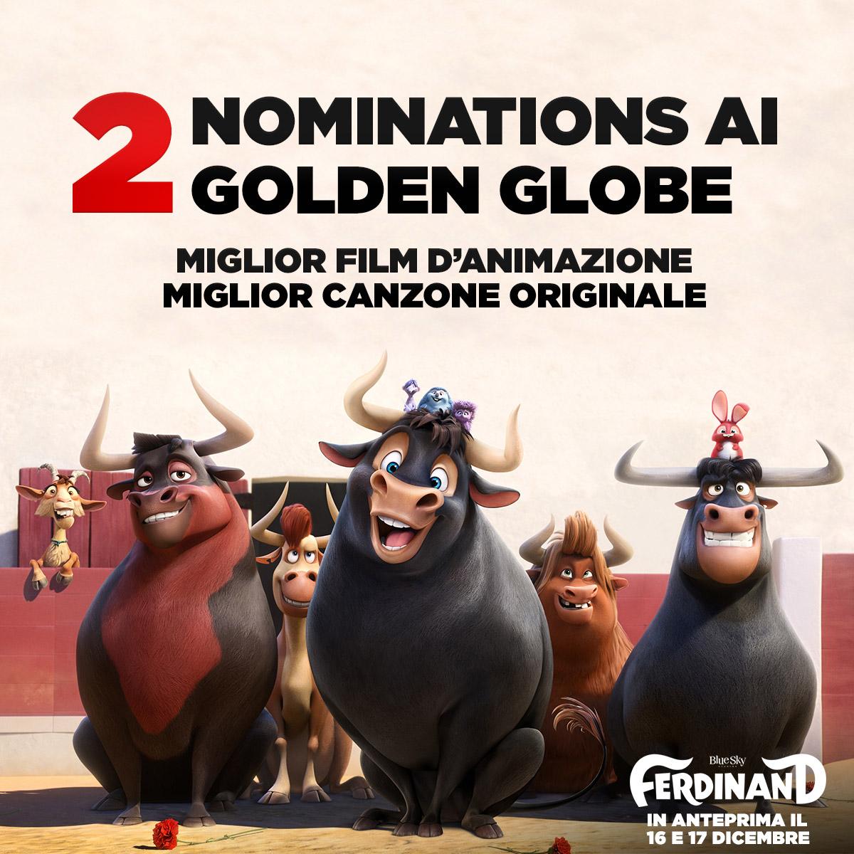 """Emozioni Al Cinema: """"Ferdinand"""" Candidato A Due Golden Globe"""