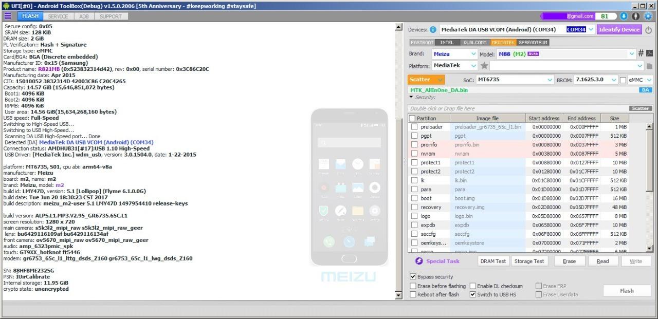 Preview UFI Update Bypass Mediatek Meizu M2 MT6735