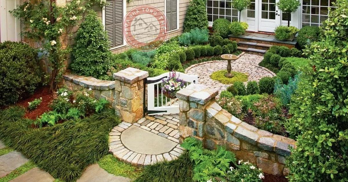thiết kế sân vườn đẹp Mộc mạc mang phong cách cổ điển