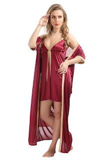 AV2 Women's Satin Plain Short Nighty with Long Robe order now Amazon