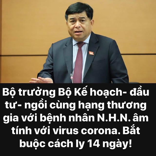 Bộ trưởng Bộ Kế hoạch - đầu tư Nguyễn Chí Dũng âm tính với Covid-19, cách ly 14 ngày