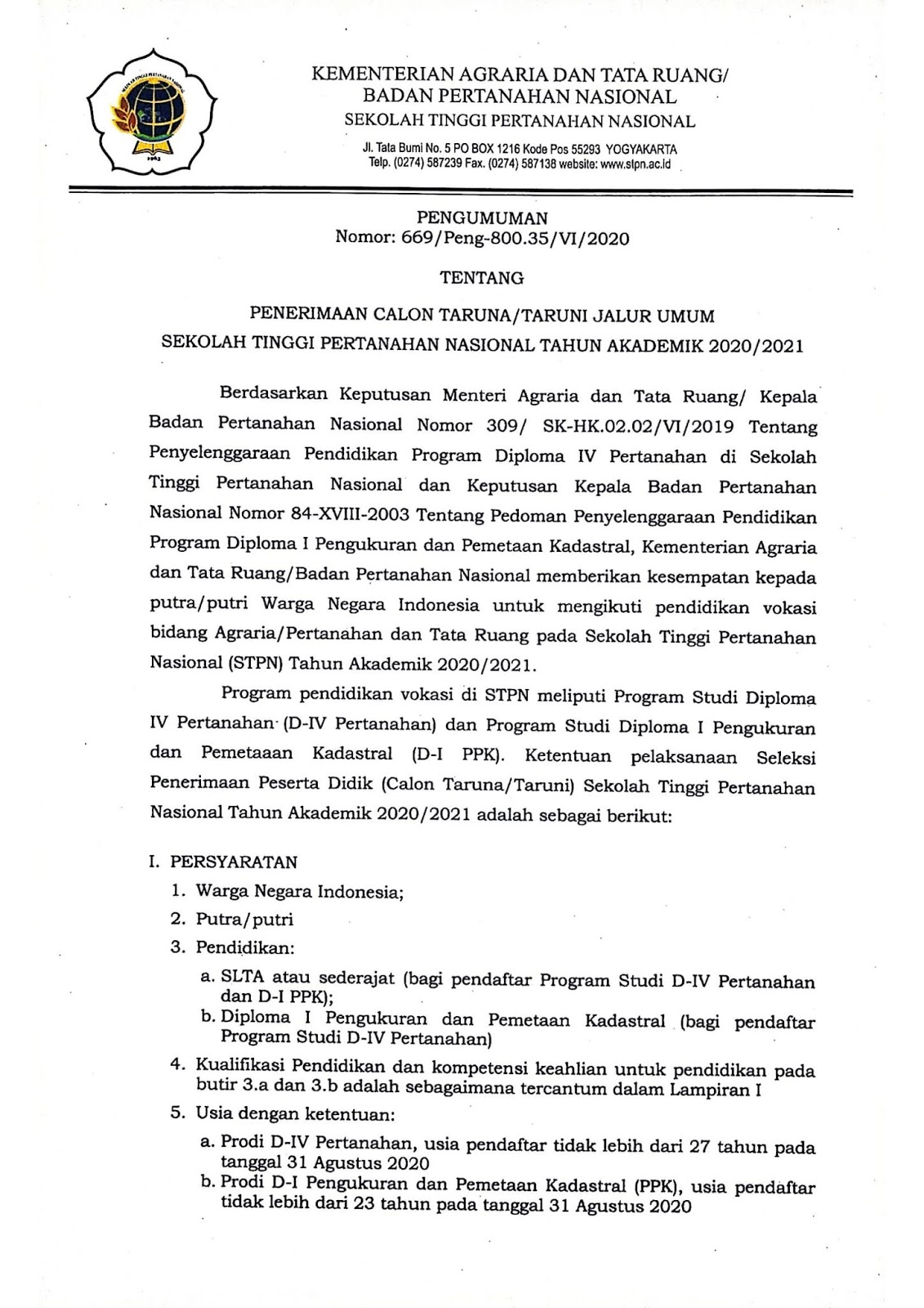 Rekrutmen Catar STPN Kementerian Agraria dan Tata Ruang / Badan Pertanahan Nasional Tahun 2020