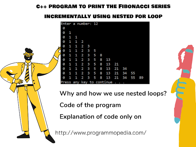 c++ program to print the Fibonacci series incrementally using nested for loop