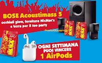 Logo Loacker ''Nic Nac's 2019'' vinci AirPods e Party Kit (prodotti Nic Nac's, birra, diffusore Bose e non solo)