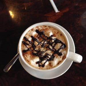 s'mores latte at Crispy Crêpe in Charlotte, NC