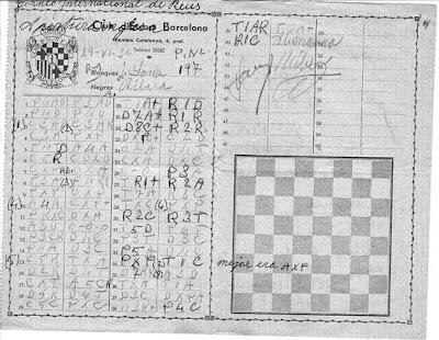 Planilla de la partida de ajedrez José Sanz-Angel Ribera