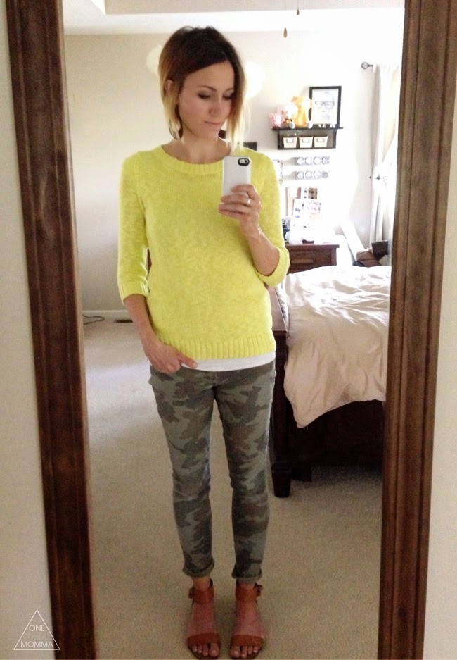 Citron sweater, camo pants, strappy camel sandals