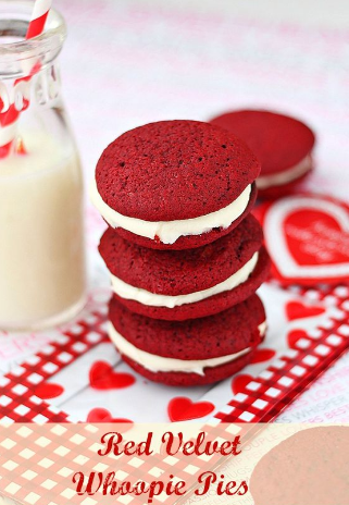 RED VELVET WHOOPIE PIES WITH CREAM CHEESE FROSTING