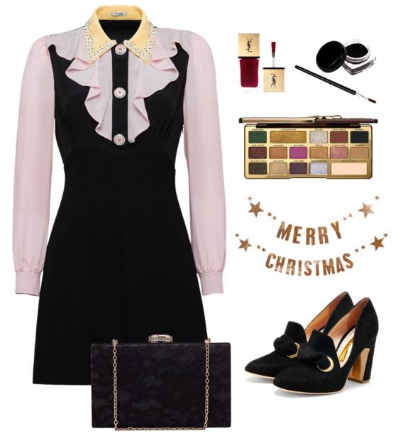 święta, moda, sukienka, czerń
