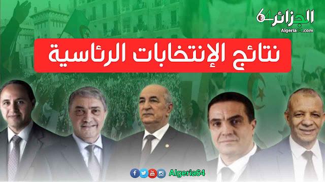 نتائج الانتخابات الرئاسية في الجزائر 12 / 12 / 2019 من هو الرئيس الجديد للجزائر