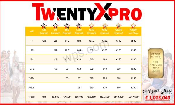 آلية الربح من الكورس الخامس الى الثامن في شركة تونتي أكس برو(2)