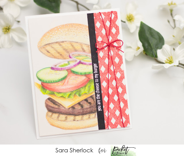 Picket Fence Studios, Dad's Day, cheeseburger, Prismacolor pencils, coloring, stamping, handmade card, paper craft, gingham