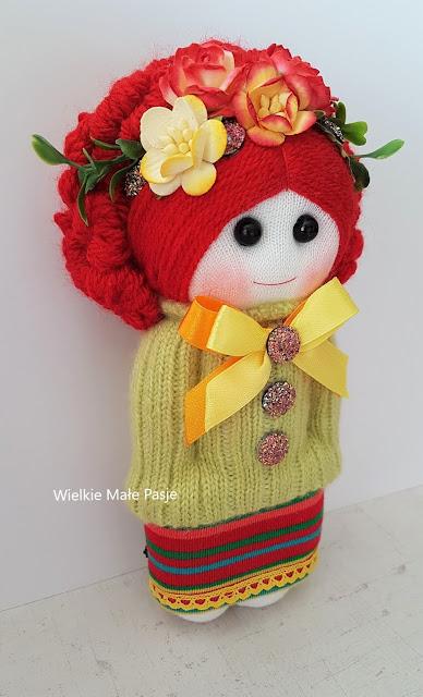 czerwonowłosa, skarpetkowa lalka, sock doll, lalka ze skarpetki, lalka ręcznie szyta