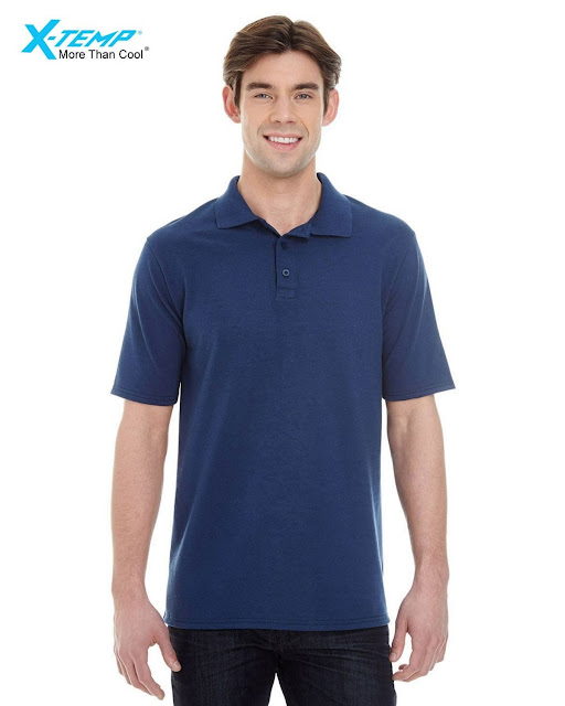 Hanes 055P Mens X-Temp Pique Short-Sleeve Polo- Navy – XL